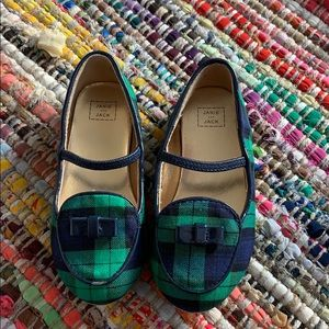 Janie and Jack green and navy plaid loafers// GUC